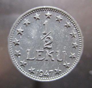 Albania 1/2 Half Lek 1947 Km 35 R27 photo