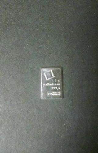 1 Gram Palladium Bar - Valcambi Suisse photo