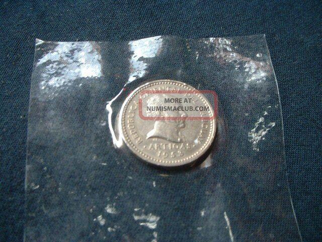 1953 Uruguay 5 Centesimos Coin South America photo