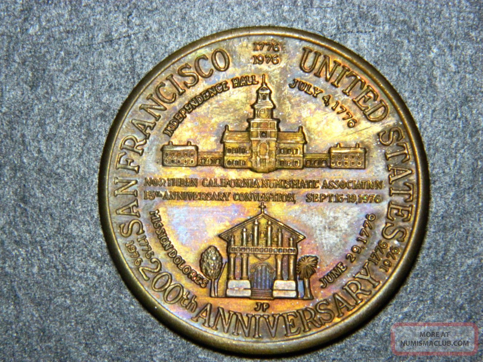 Scarce,  Usa,  San Francisco,  Copper Numismatic Medal,  1976,  Big And Heavy Exonumia photo