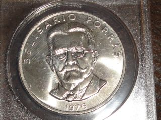 1976 Panama 5 Balboa's - Clad Planchet Struck By Silver Dies Error,  Ms - 65 photo