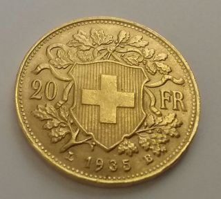 1935 B Switzerland 20 Francs Gold Coin Helvetia Gold Coin No L photo