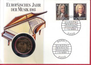 R Germany Brd Numis Letter 5 Mark 1985 F Music Unc photo