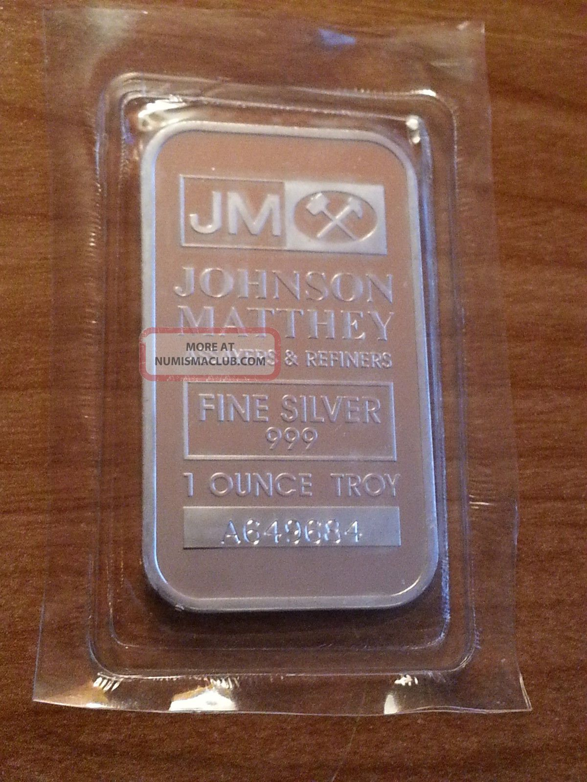 1troy Oz Johnson Matthey 999 Fine Silver Bar With Serial