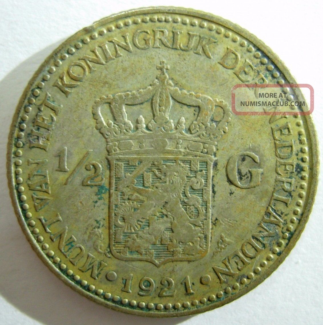 1921 Netherlands 1 2 G Silver Coin