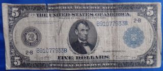 1914 $5 York Federal Reserve Note Five Dollars Bill photo