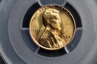 1954 - S Lincoln Wheat Cent 1c Bu Brilliant Uncirc Pcgs Ms65 Rd Red 30663197 photo