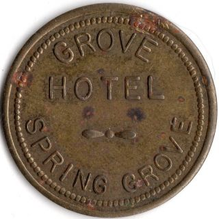 Spring Grove Minnesota Grove Hotel Merchant Good For Trade Token photo