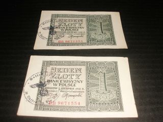 Polish Occupation 2 X 1 Zlotych 1941 Consecutive Numbers - Stamp photo