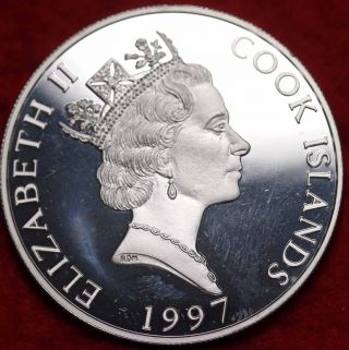 Unc 1997 Cook Island $10 Silver Proof Sea Turtle Foreign Coin S/h photo