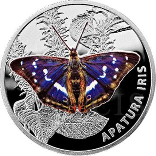 Belarus 2013 20 Rubles Butterflies The Purple Emperor Apatura Iris Proof Silver photo