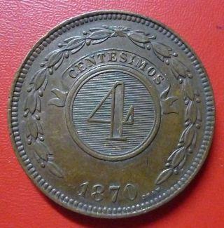 Paraguay Copper Coin 4 Centesimos,  Km4.  1 Xf 1870 photo
