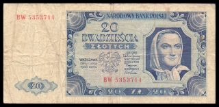 Poland P137 20 Zlotych 1948 Banknote photo
