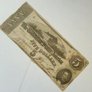 1863 $5 Dollar Confederate States Currency Csa Civil War Note photo