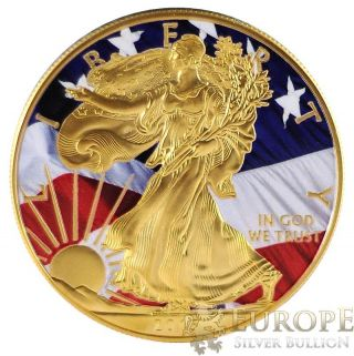 2015 American Silver Eagle Coin 1 Oz Ounce Freedom Eagle 999 24k Gold Gilded photo