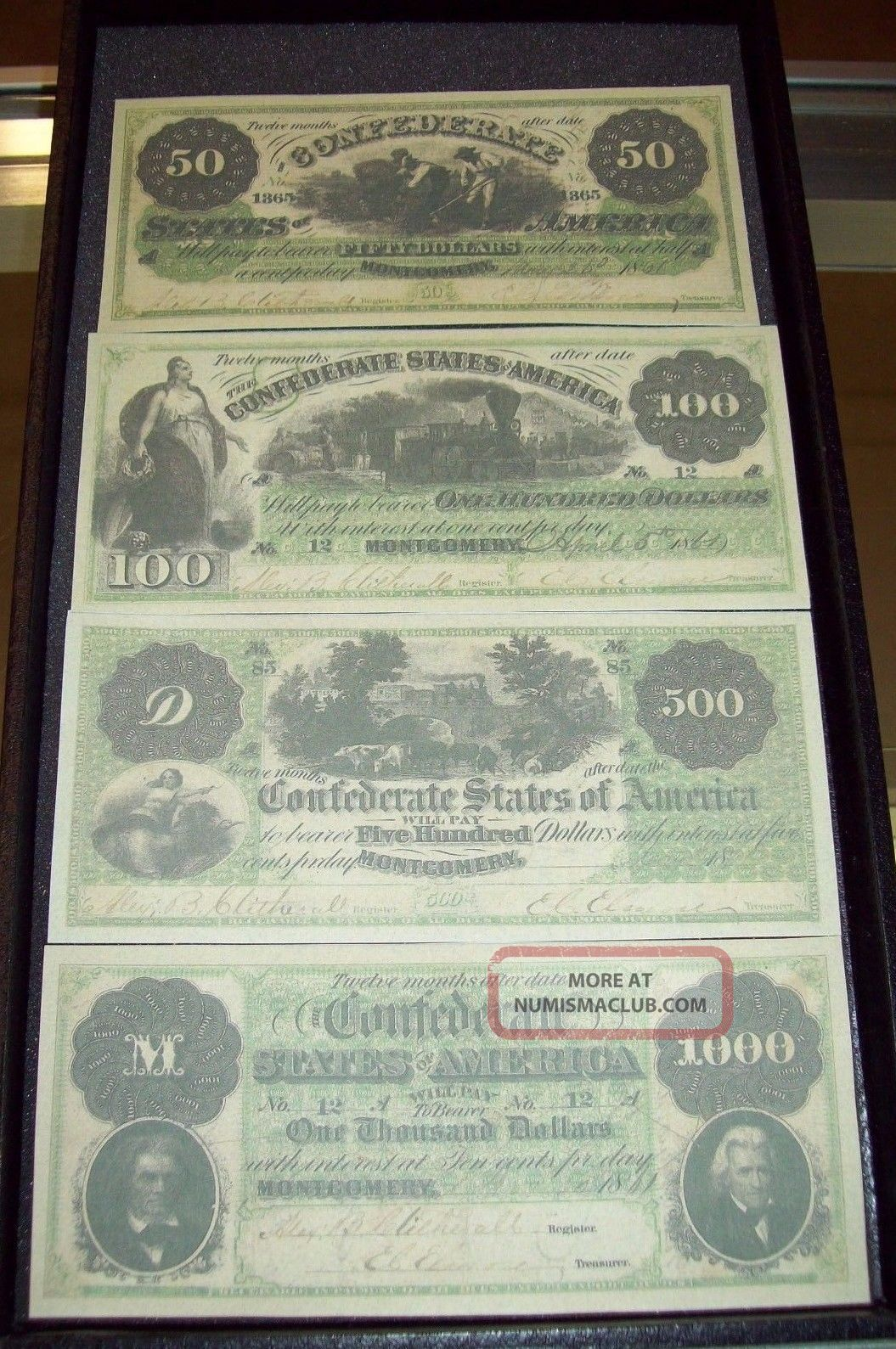 Replica 1861 Confederate Currency From Montgomery Alabama Paper Money: US photo