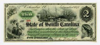1873 $2 The State Of South Carolina Note Cu photo