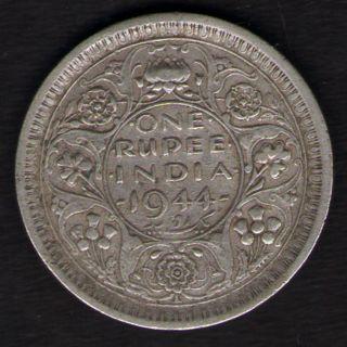 British India - 1944 - George Vi One Rupee Lahore Silver Coin Ex - Rare photo