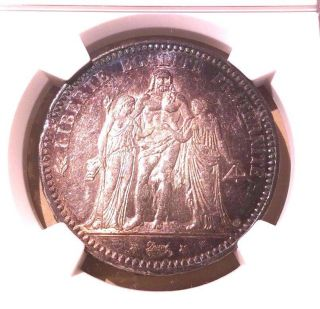 France 1873 A 5 Francs Ngc Ms 60 Rainbow Toning photo