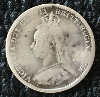 Uk / Great Britain 3d Threepence 1888,  Victoria - Key Year,  Scarce Coin photo