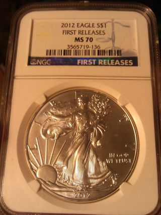 2012 Silver Eagle $1 / 1 Oz.  Bullion / Ngc Ms 70 First Release Coin photo