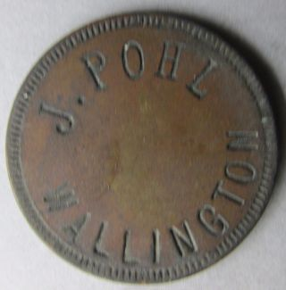 (jersey) Wallington,  J.  Pohl Trade Token; Rare,  Unlisted??? Incuse Lettering photo