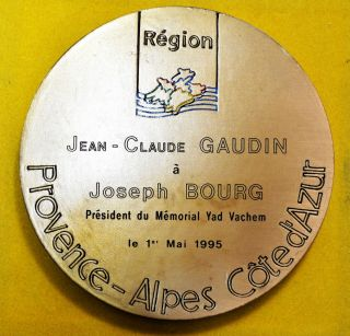 Rare Bronze Medal Present To Claude Gaudin,  President Of Yad Vashem,  117mm,  575g photo