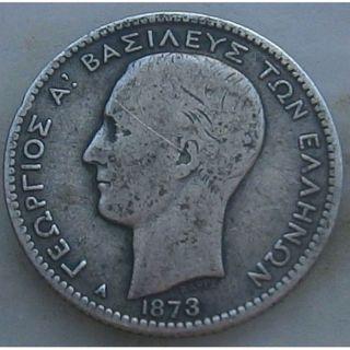 Greece - King George A ' - Drachma - 1873 - Vg/f,  - N/r photo