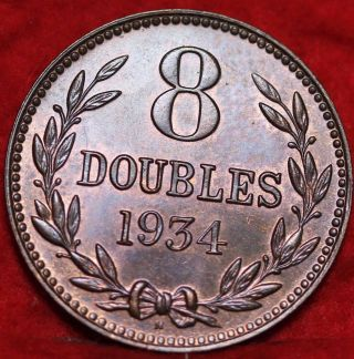 Uncirculated 1934h Guernsey 8 Doubles Foreign Coin S/h photo