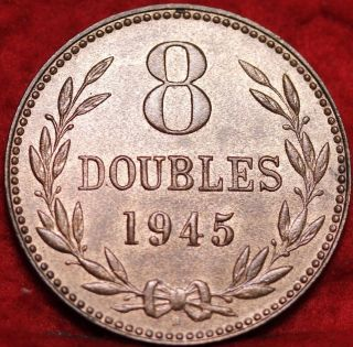 Uncirculated 1945h Guernsey 8 Doubles Foreign Coin S/h photo