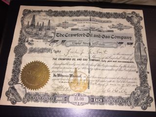 1906 Crawford Oil And Gas Company Meadville,  Pa Capital Stock Cerfificate photo