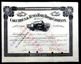 Stock Certificate 1915 Columbus & Xenia Rail Road Co Ohio 100 Shares Capital photo