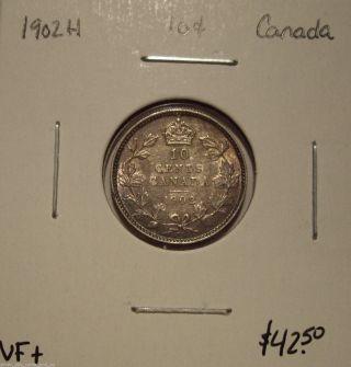 Canada Edward Vii 1902h Silver Ten Cents - Vf, photo