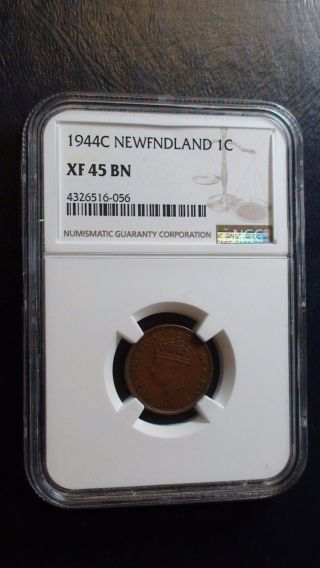 1944 C One Cent Newfoundland Canada Ngc Extra Fine 45 1c Coin photo