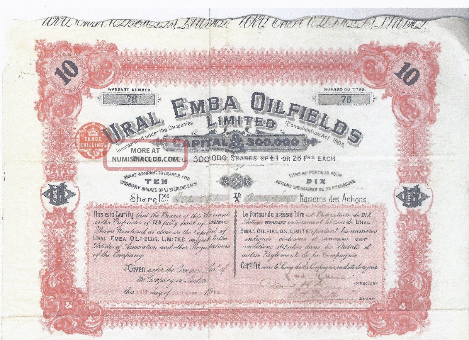 Russia Kazakhstan Ural Emba Oil Fields Stock Certificate - October 13,  1913 Stocks & Bonds, Scripophily photo