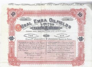 Russia Kazakhstan Ural Emba Oil Fields Stock Certificate - October 13,  1913 photo