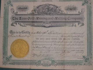 Zeus Gold Mining,  And Milling Company Collectable Stock Records photo