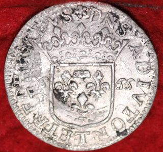 1665 Dombres French State 1/12 Ecu Foreign Coin photo