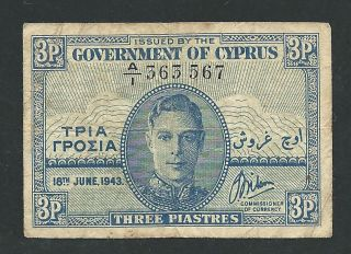 Government Of Cyprus 1943 Kgvi 3 Piastres 3567 photo