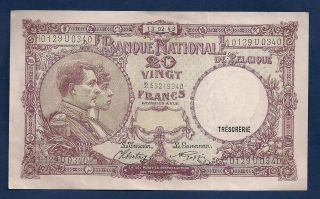 Belgium 20 Francs 1943 P - 111 Vintage Ww2 Era Belgian Royalty Portrait Note photo
