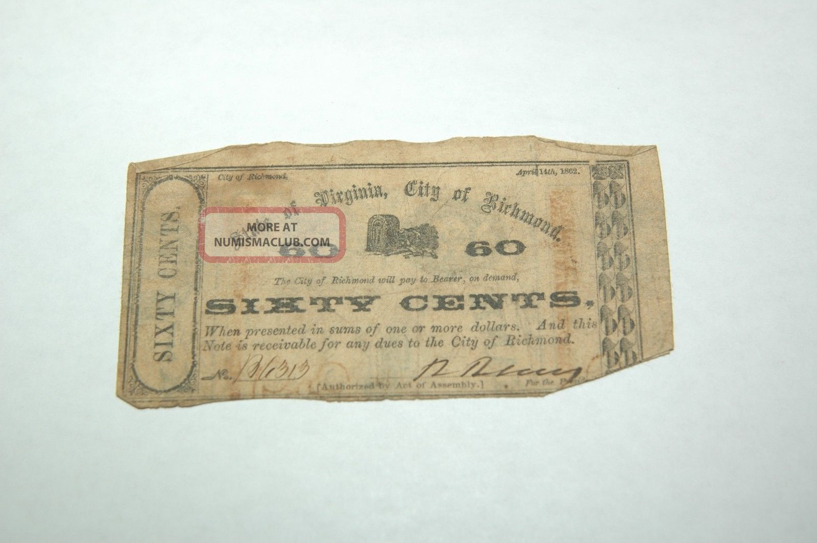 Civil War Currency,  Confederate City Issue,  Richmond,  Va 1862 60 Cent Note. Paper Money: US photo