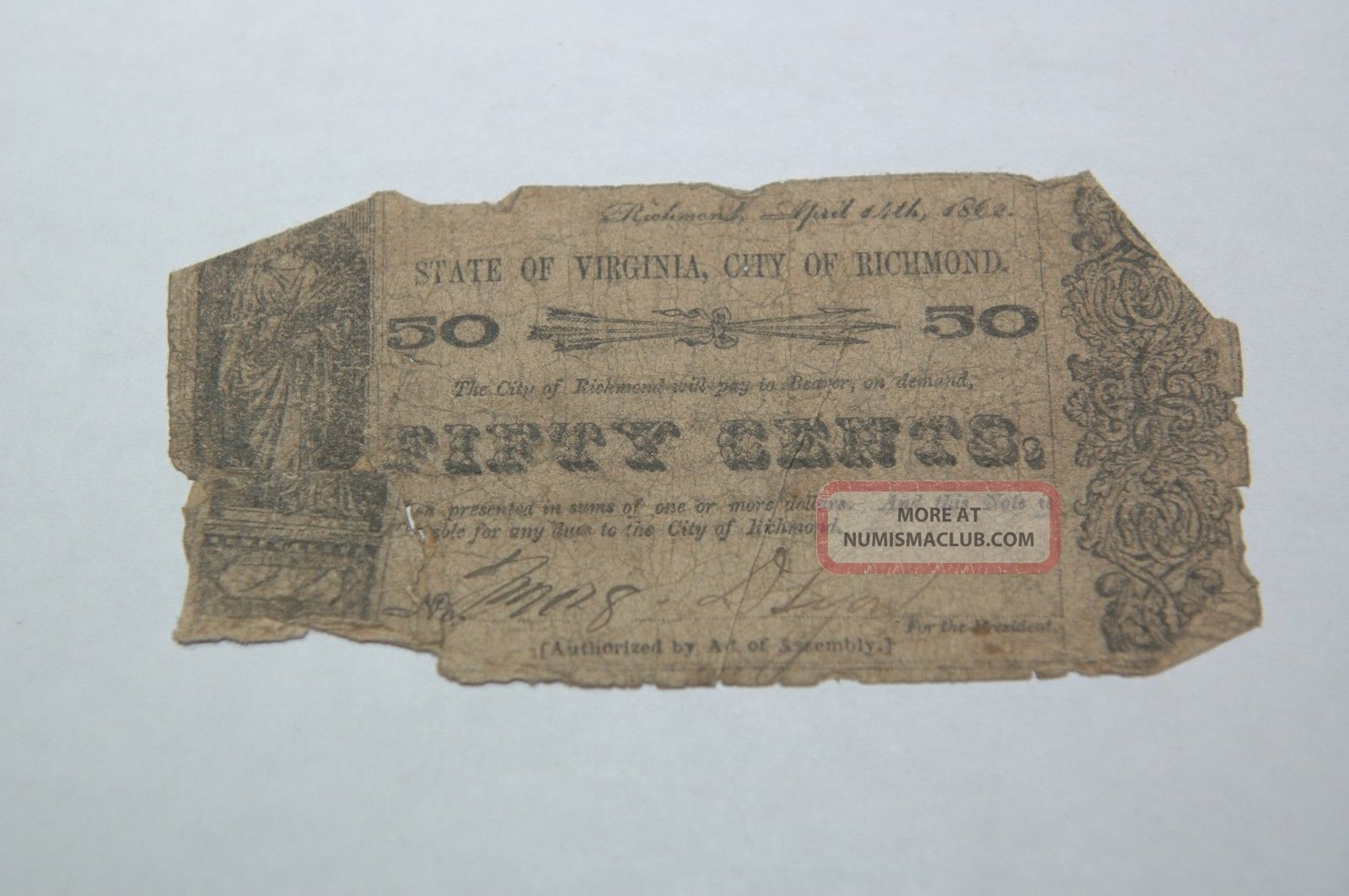 1862 State Of Virginia,  City Of Richmond 50c Cent Note,  Worn Paper Money: US photo