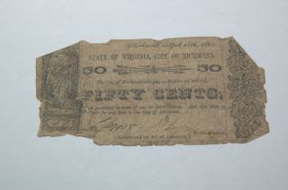 1862 State Of Virginia,  City Of Richmond 50c Cent Note,  Worn photo