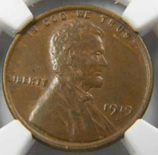1919 - D Lincoln Cent Fine Ngc Au 53 photo