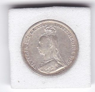 1890 Jubilee Head Queen Victoria Threepence (3d) Silver (92.  5) Coin photo