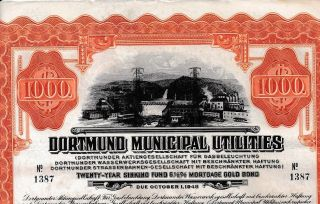 Dortmund Muncipal Utilities Gold Bond 1928,  Coupons Germany Not Hole Punched Y photo