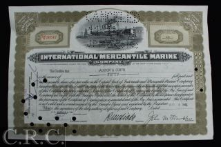 1941 Mercantile Marine Co.  Jp Morgan Chase Nj Stock Certificate photo