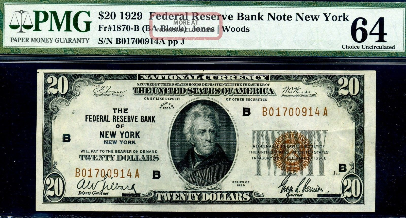 1929 $20 National Currency ( (york))  Pmg Choice - Unc 64 Pinholes B01700914a Small Size Notes photo