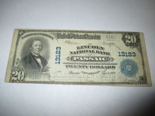 $20 1902 Passaic Jersey Nj National Currency Bank Note Bill 13123 Vf Rare photo