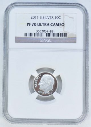 2011 - S Roosevelt Silver Dime Proof - Ngc Pf70 Ultra Cameo /a1602 photo